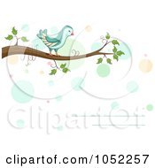 Royalty Free Vector Clip Art Illustration Of A Horizontal Invitation With A Bird On A Branch And Dots
