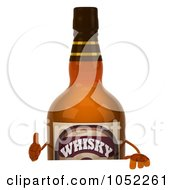 Royalty Free 3d Clip Art Illustration Of A 3d Whisky Bottle Character With A Blank Sign 1 by Julos