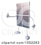 Royalty Free 3d Clip Art Illustration Of A 3d Solar Panel Character Holding A Thumb Up