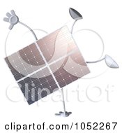 Royalty Free 3d Clip Art Illustration Of A 3d Solar Panel Character Doing A Cartwheel