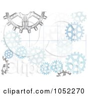 Royalty Free Vector Clip Art Illustration Of A Background Of Sketched Gear Cogs by mheld