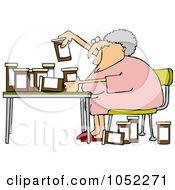 Royalty Free Vector Clip Art Illustration Of A Senior Woman Comparing Medications by Dennis Cox