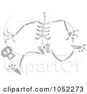 Royalty Free Vector Clip Art Illustration Of A Gray Running Skeleton Losing His Head