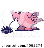 Royalty Free Vector Clip Art Illustration Of A Peeing Pig by Zooco