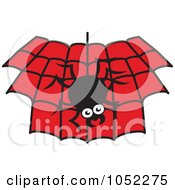 Royalty Free Vector Clip Art Illustration Of A Spider Hanging Down Over A Black And Red Web by Zooco