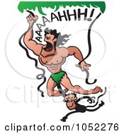 Royalty Free Vector Clip Art Illustration Of A Monkey Hanging Onto Tarzan Swinging From Vines by Zooco