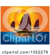 Royalty Free Vector Clip Art Illustration Of A Background Of A Junco Sailboat At Sunset by pauloribau