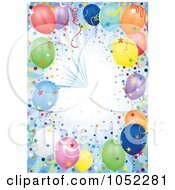 Royalty Free Vector Clip Art Illustration Of A Blue Background Of Rays Confetti And Party Balloons by dero
