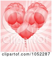 Royalty Free Vector Clip Art Illustration Of A Heart Bouquet Of Red Party Balloons Over Pink Rays