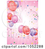 Royalty Free Vector Clip Art Illustration Of A Pink Background Of Rays Confetti And Party Balloons by dero