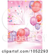 Royalty Free Vector Clip Art Illustration Of A Pink Background Of Water Rays Confetti And Party Balloons by dero