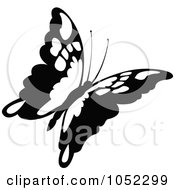 Royalty Free Vector Clip Art Illustration Of A Black And White Flying Butterfly Logo 1