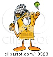 Yellow Admission Ticket Mascot Cartoon Character Preparing To Hit A Tennis Ball