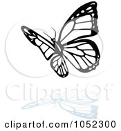 Royalty Free Vector Clip Art Illustration Of A Black And White Butterfly Logo With A Reflection 8