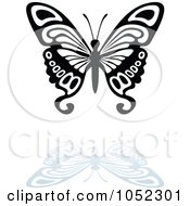 Royalty Free Vector Clip Art Illustration Of A Black And White Butterfly Logo With A Reflection 9