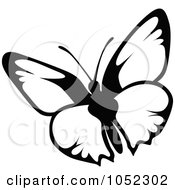 Royalty Free Vector Clip Art Illustration Of A Black And White Flying Butterfly Logo 12