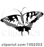 Royalty Free Vector Clip Art Illustration Of A Black And White Flying Butterfly Logo 6