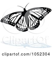 Royalty Free Vector Clip Art Illustration Of A Black And White Butterfly Logo With A Reflection 2