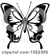 Black And White Flying Butterfly Logo 4