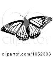 Royalty Free Vector Clip Art Illustration Of A Black And White Flying Butterfly Logo 2