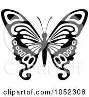Royalty Free Vector Clip Art Illustration Of A Black And White Flying Butterfly Logo 9