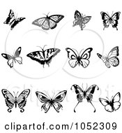 Digital Collage Of Black And White Flying Butterfly Logos