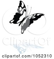 Royalty Free Vector Clip Art Illustration Of A Black And White Butterfly Logo With A Reflection 1