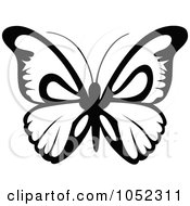 Royalty Free Vector Clip Art Illustration Of A Black And White Flying Butterfly Logo 7