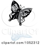 Royalty Free Vector Clip Art Illustration Of A Black And White Butterfly Logo With A Reflection 3