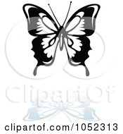 Royalty Free Vector Clip Art Illustration Of A Black And White Butterfly Logo With A Reflection 4