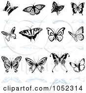 Royalty Free Vector Clip Art Illustration Of A Digital Collage Of Black And White Butterfly Logos With Reflections