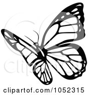 Royalty Free Vector Clip Art Illustration Of A Black And White Flying Butterfly Logo 8