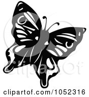 Royalty Free Vector Clip Art Illustration Of A Black And White Flying Butterfly Logo 3