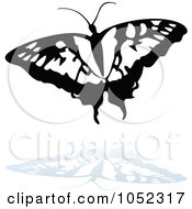 Royalty Free Vector Clip Art Illustration Of A Black And White Butterfly Logo With A Reflection 6