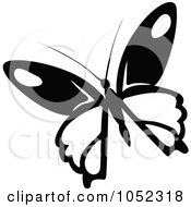 Royalty Free Vector Clip Art Illustration Of A Black And White Flying Butterfly Logo 5