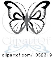 Royalty Free Vector Clip Art Illustration Of A Black And White Butterfly Logo With A Reflection 7