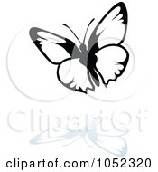 Black And White Butterfly Logo With A Reflection 12