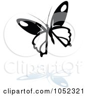 Royalty Free Vector Clip Art Illustration Of A Black And White Butterfly Logo With A Reflection 5