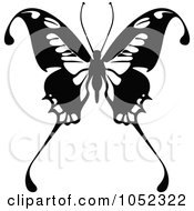 Royalty Free Vector Clip Art Illustration Of A Black And White Flying Butterfly Logo 11 by dero