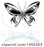 Royalty Free Vector Clip Art Illustration Of A Black And White Butterfly Logo With A Reflection 10