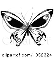 Royalty Free Vector Clip Art Illustration Of A Black And White Flying Butterfly Logo 10 by dero