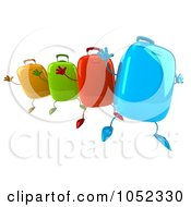 Royalty Free 3d Clip Art Illustration Of A 3d Colorful Rolling Suitcases Jumping