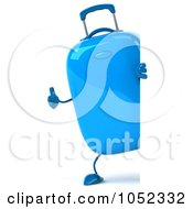 Royalty Free 3d Clip Art Illustration Of A 3d Blue Rolling Suitcase Character With A Blank Sign Board 1