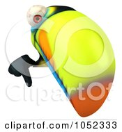 Royalty Free 3d Clip Art Illustration Of A 3d Toucan Pointing Down At A Blank Sign Board