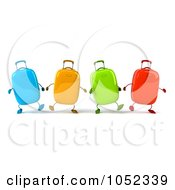 Royalty Free 3d Clip Art Illustration Of A 3d Colorful Rolling Suitcases Walking Forward