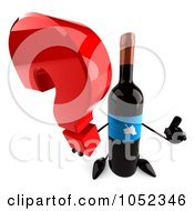 Royalty Free 3d Clip Art Illustration Of A 3d Wine Bottle Character Holding A Question Mark