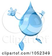 Royalty Free 3d Clip Art Illustration Of A 3d Water Droplet Facing Right And Jumping