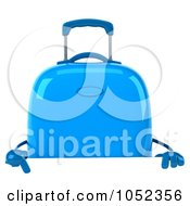 Royalty Free 3d Clip Art Illustration Of A 3d Blue Rolling Suitcase Character With A Blank Sign Board 2