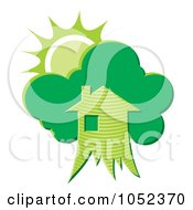 Royalty Free Vector Clip Art Illustration Of A Green Tree House With The Sun by Any Vector