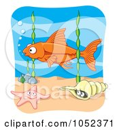 Royalty Free Vector Clip Art Illustration Of An Orange Fish Above Seaweed A Starfish And Conch